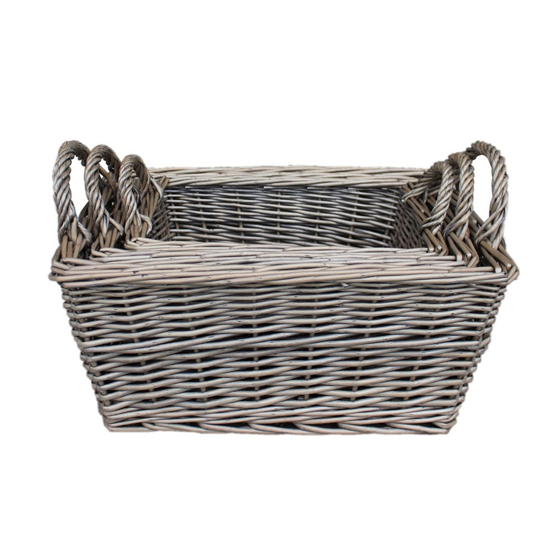 Wicker Antique Wash Finish Handled Unlined Storage Basket