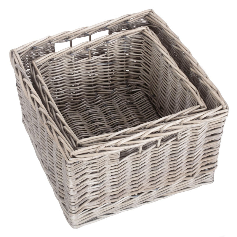 Square Antique Wash Unlined Storage Basket