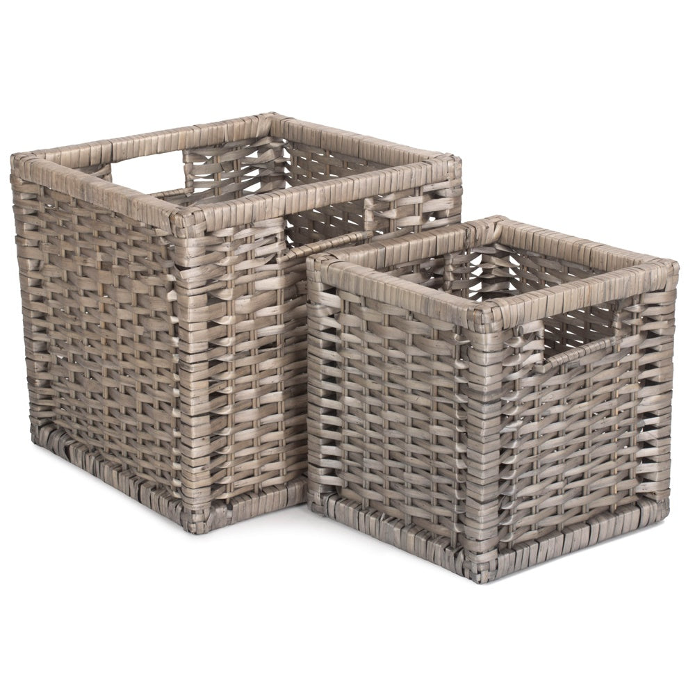 Wooden Framed Split Willow Storage Basket