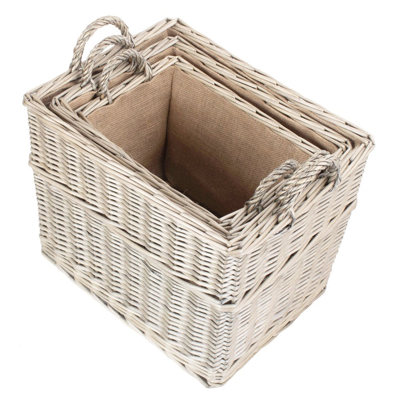 Rectangular Hessian Lined Wicker Log Storage Basket