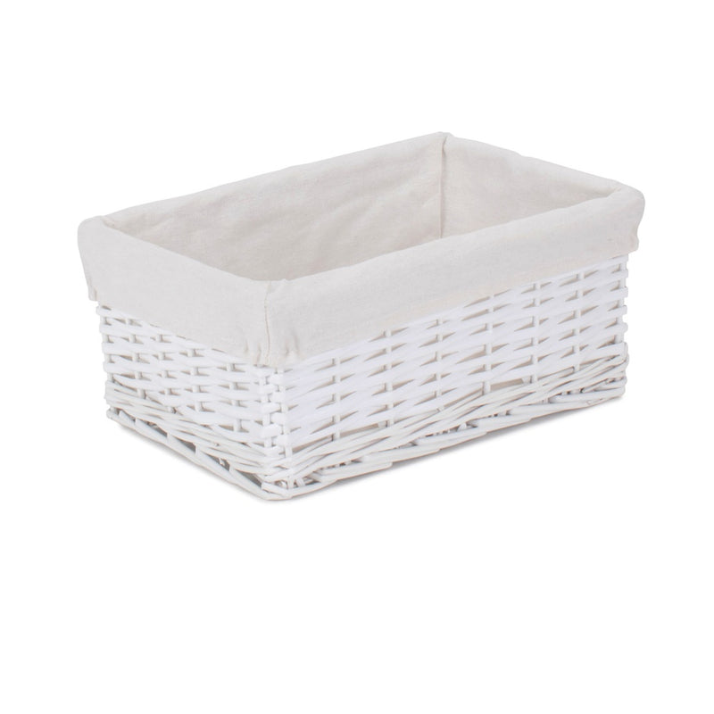 White Wicker Cotton Lined Storage Basket
