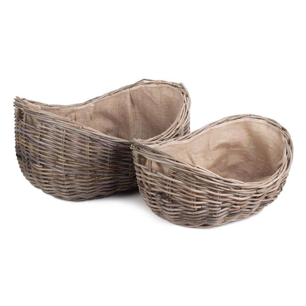 Boat Shaped Rattan Log Basket with Hessian Lining