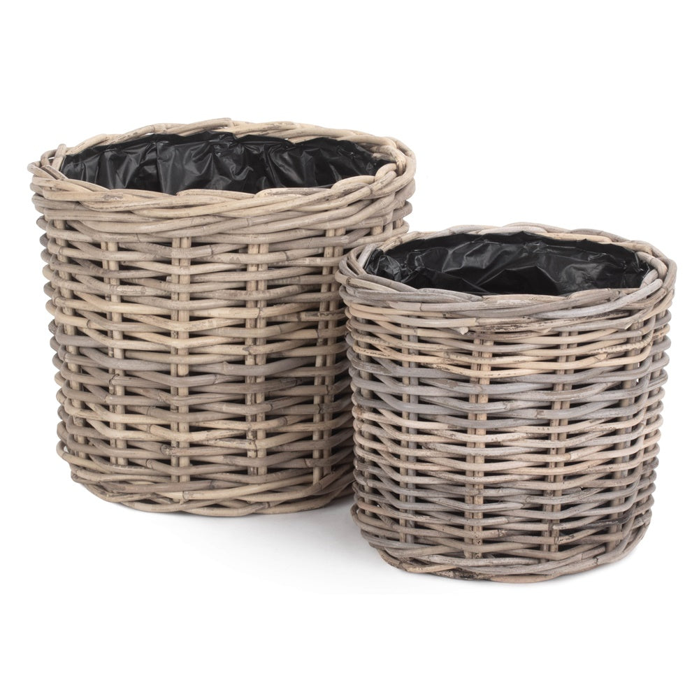 Rattan Round Planter with Plastic Lining