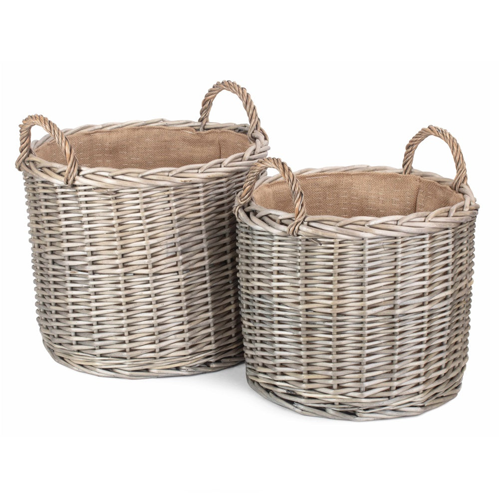 Round Lined Straight-Sided Wicker Log Storage Basket