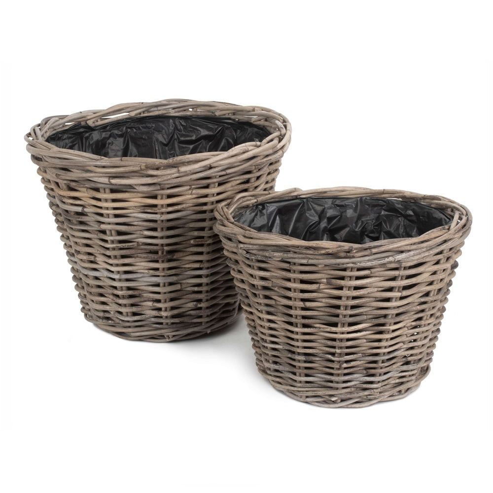Tapered Rattan Round Planter with Plastic Lining