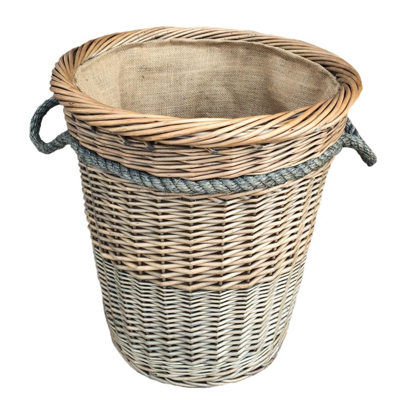 Tall Deluxe Wicker Hessian Lined Rope Handled Log Basket