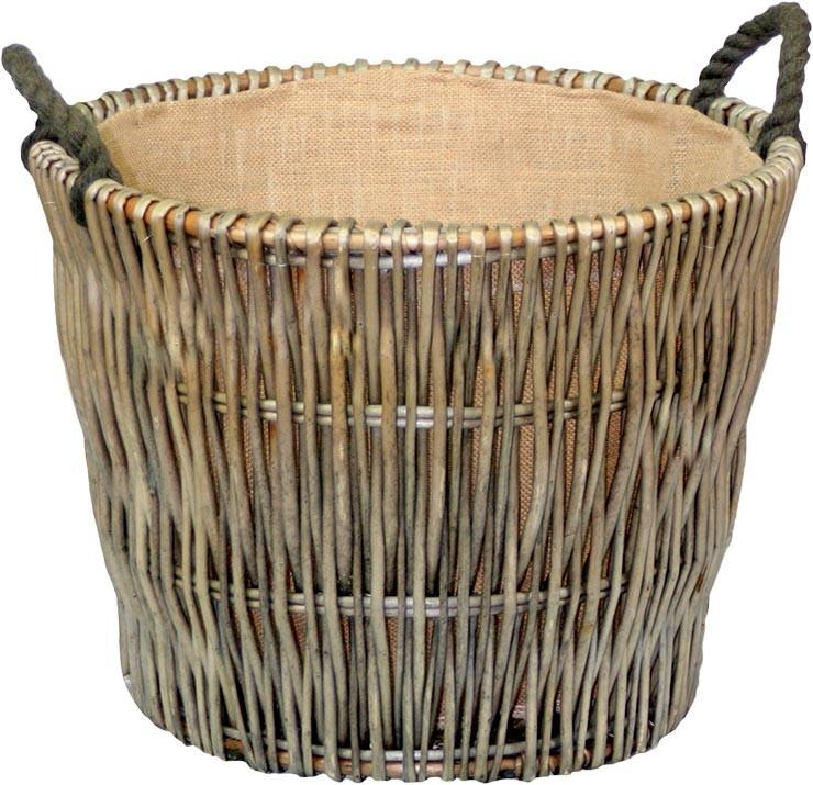 Round Grey Hessian Lined Log Basket