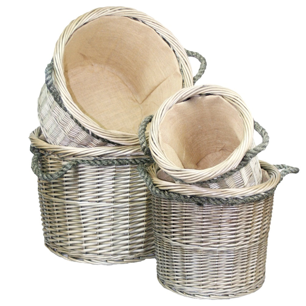 Rope Handled Antique Wash Round Log Basket