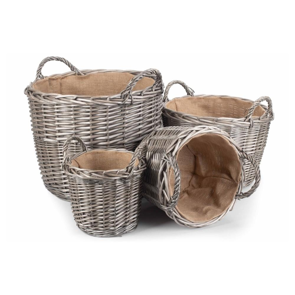 Round Antique Wash Finish Wicker Lined Wicker Log Basket