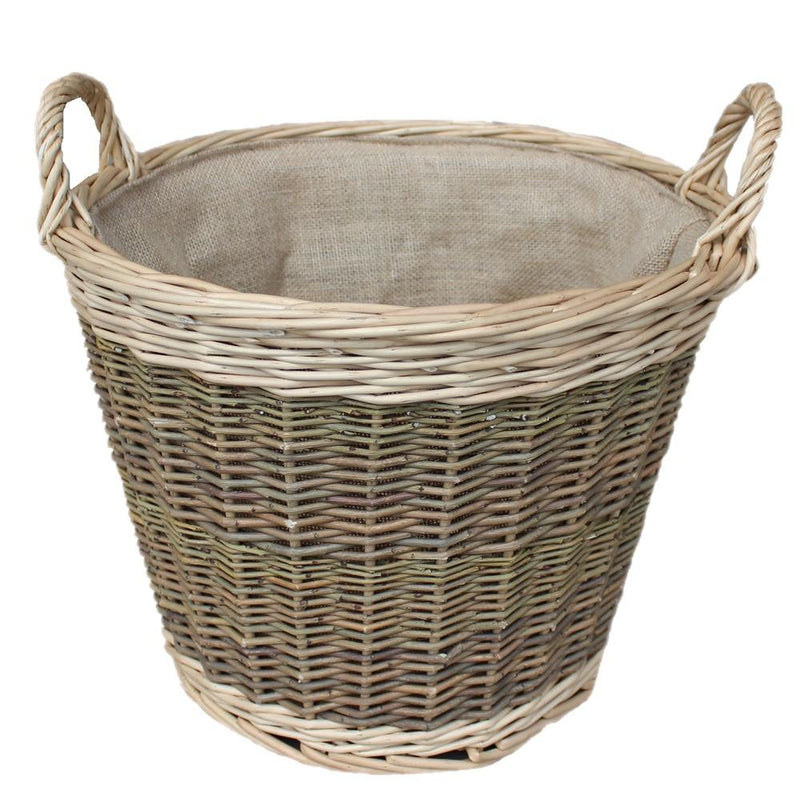 Medium Unpeeled Hessian Lined Wicker Log Basket