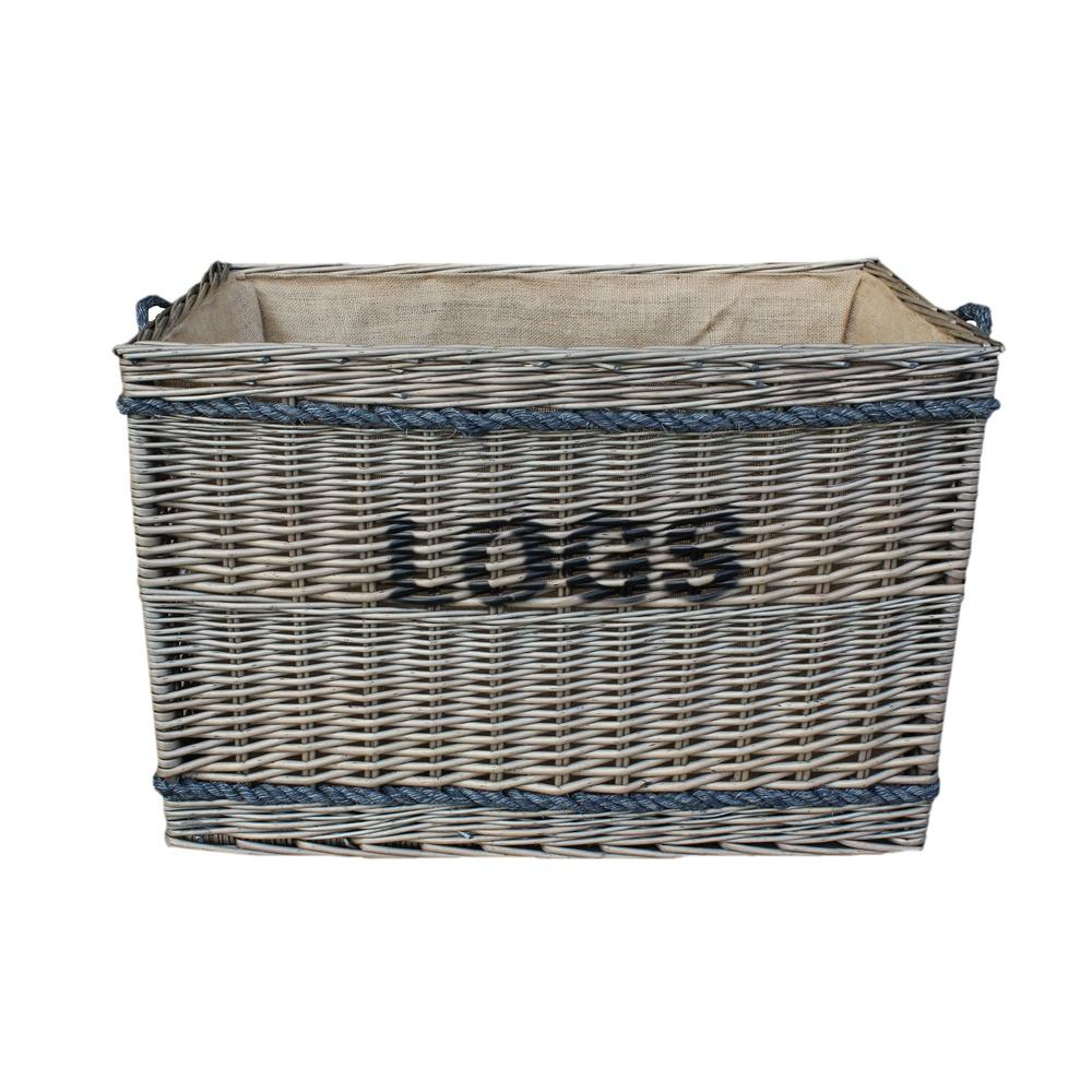 Large Wicker Rope Handle Log Basket