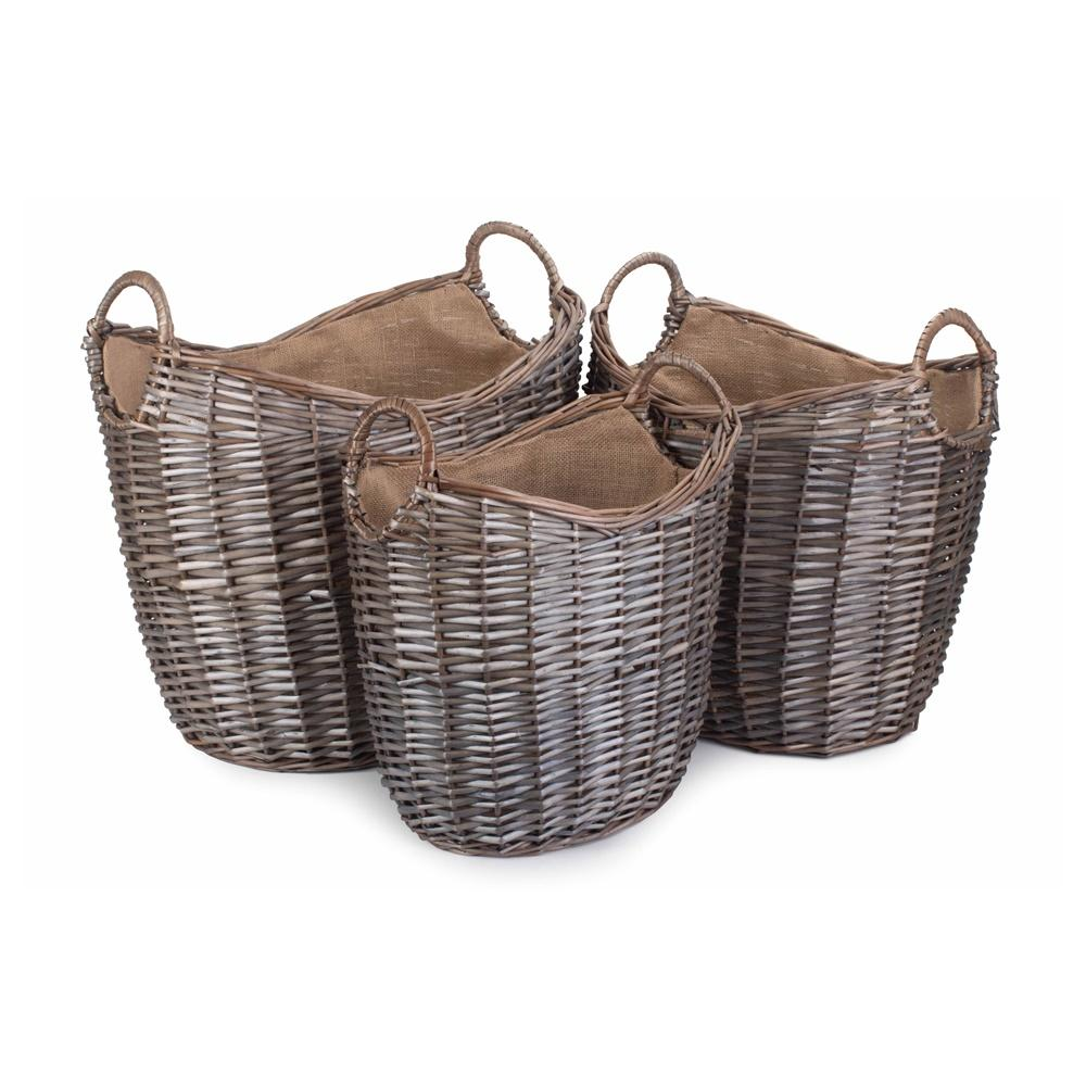 Scoop Neck Antique Wash Hessian Lined Wicker Log Basket