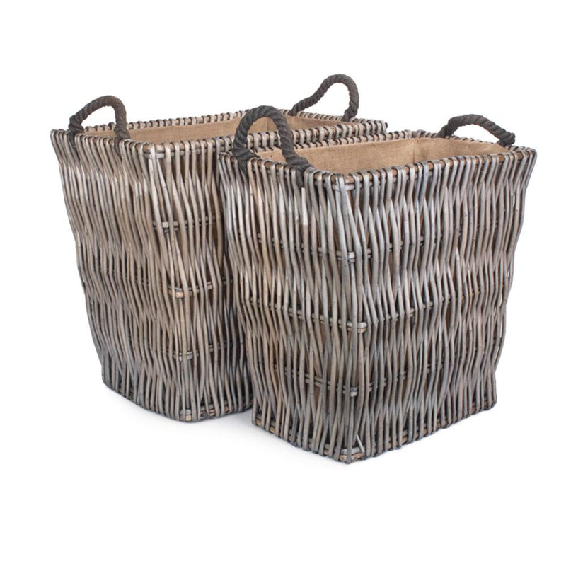 Grey Rectangular Wicker Log Basket