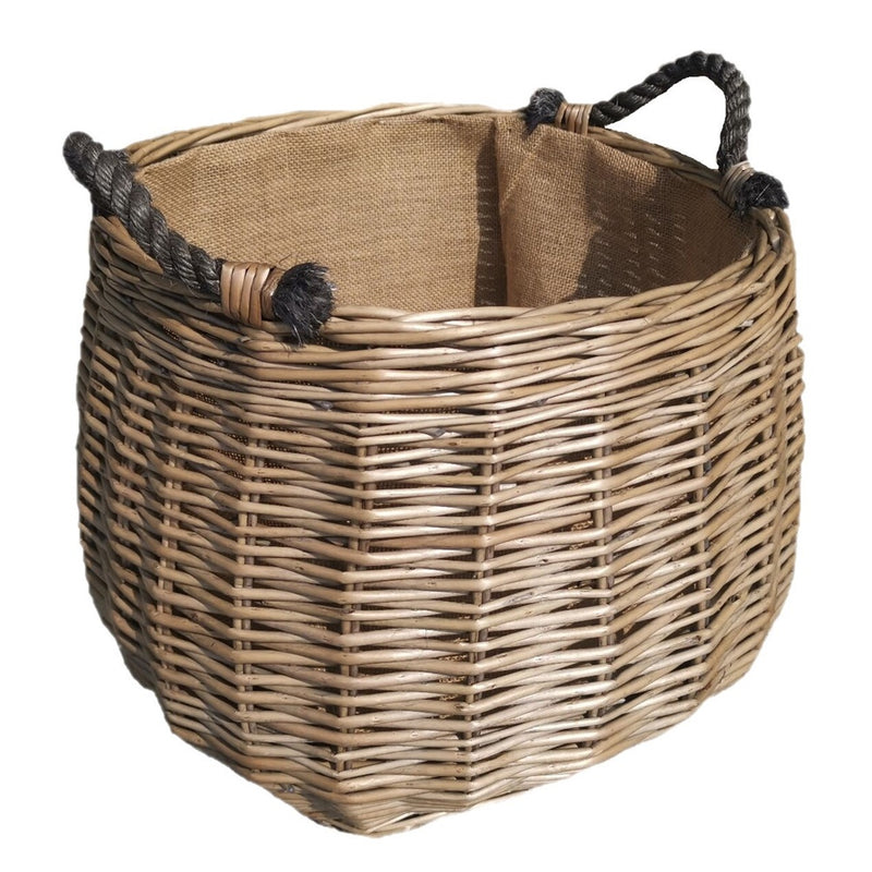 Curve Sided Antique Wash Hessian Lined Wicker Log Basket