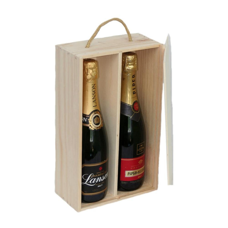 Two Bottle Sliding Lid Wooden Box
