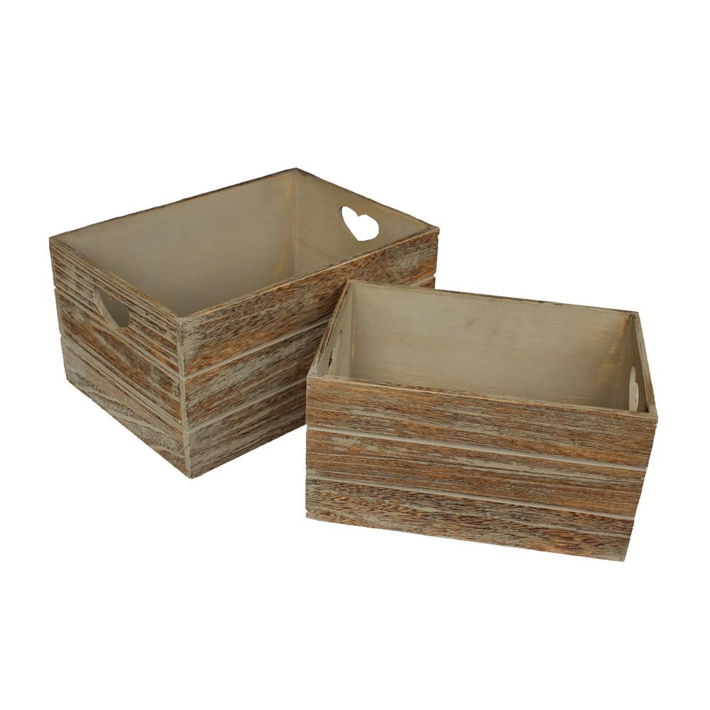 Oak Effect Heart Cut Handle Wooden Storage Crate