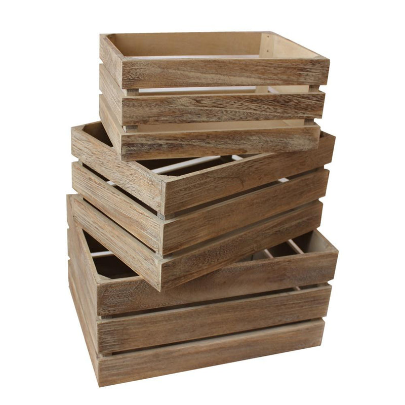 Oak Effect Slatted Wooden Storage Crate
