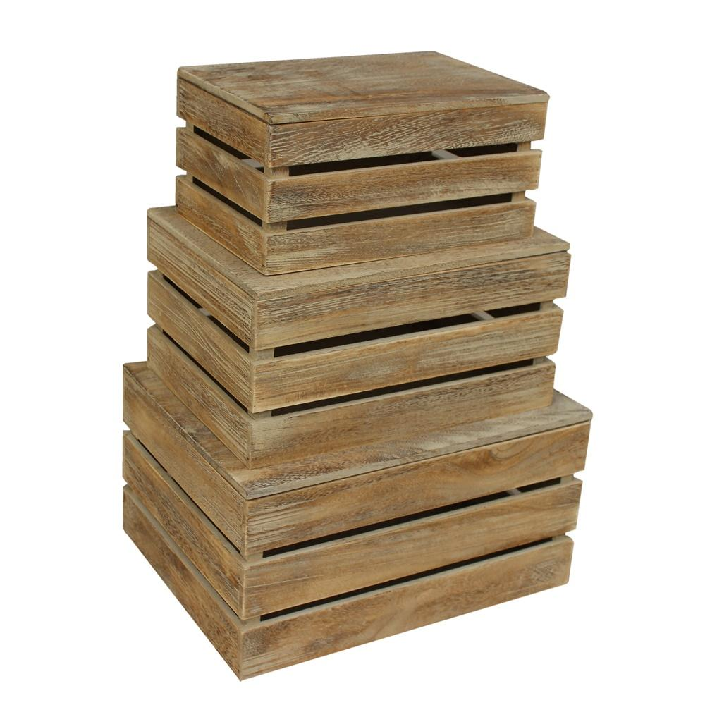 Oak Effect Slatted Lidded Wooden Storage Box