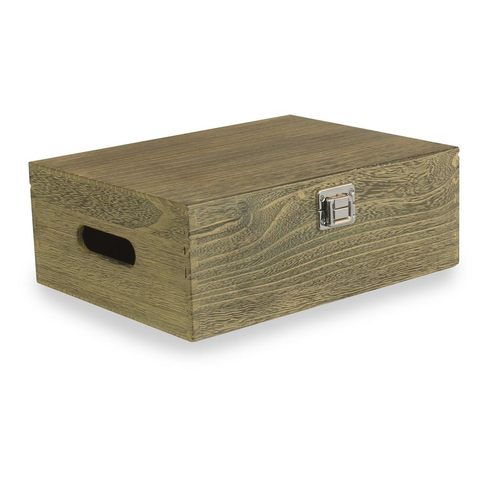 30cm Oak Effect Wooden Box