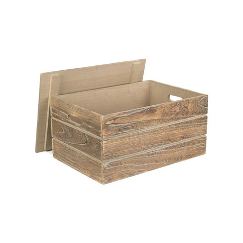 Red Hamper Large Oak Effect Slatted Wooden Storage Crate
