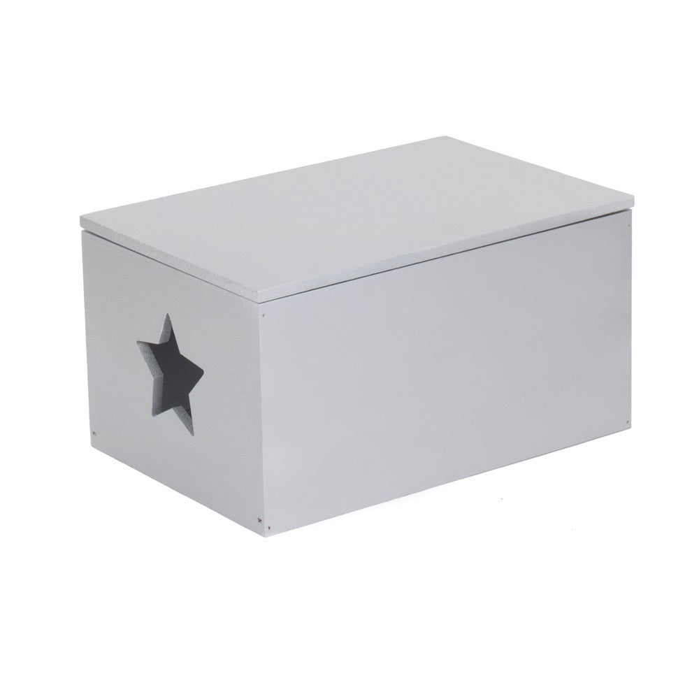 Soft Wood Silver Painted Storage Box with Star Cut Out