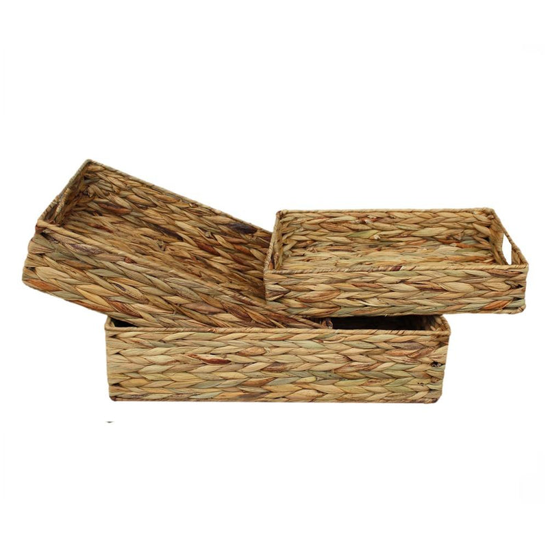 Water Hyacinth Shallow Rectangular Storage Basket