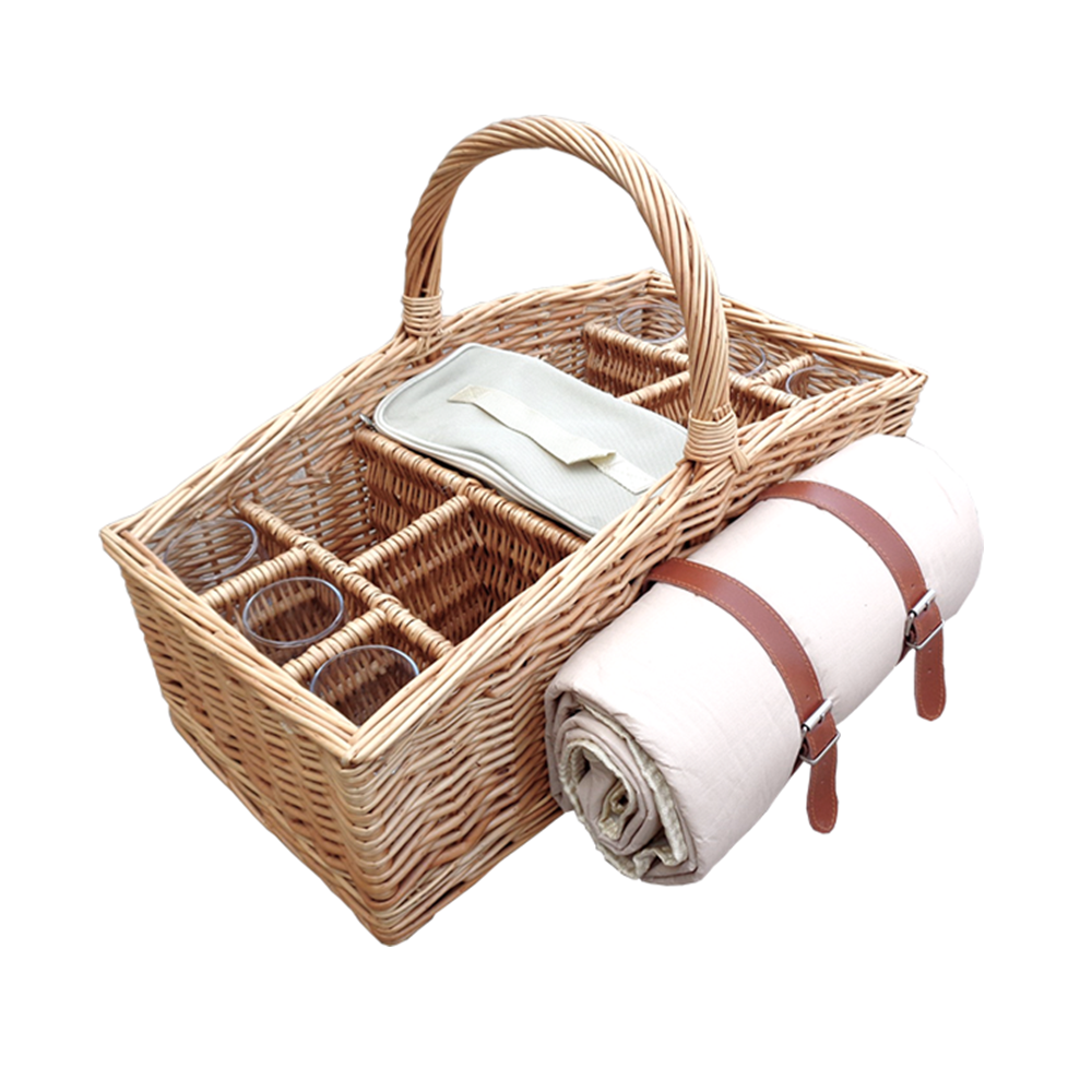 4 Bottle Wicker Picnic Basket with Glasses and Blanket