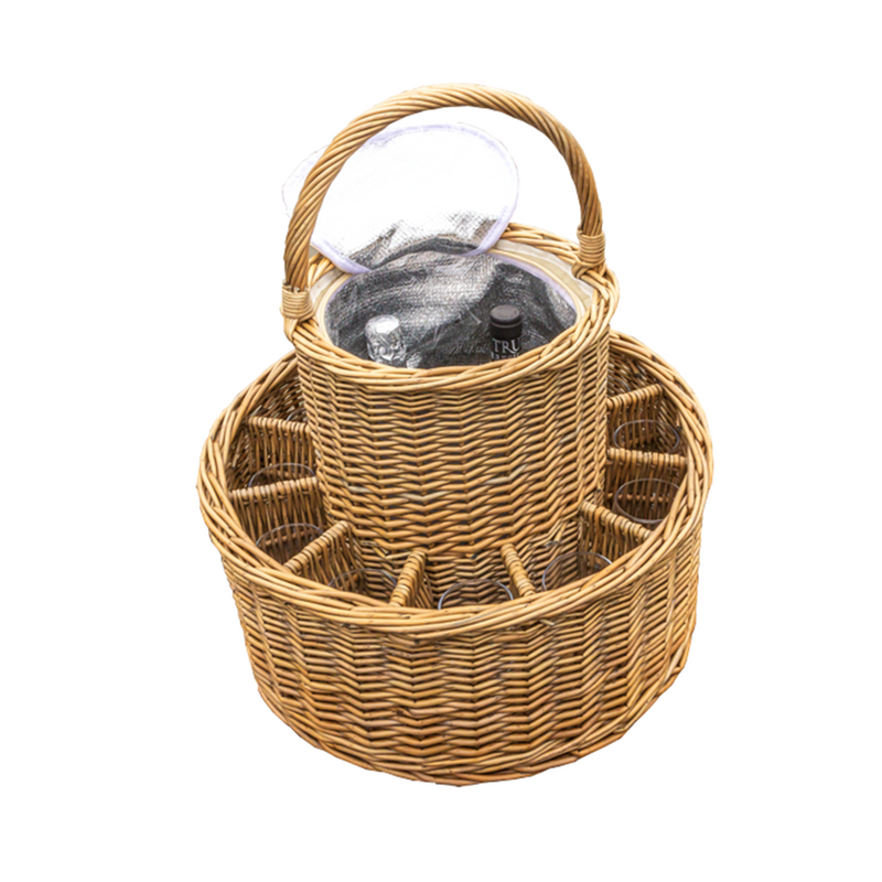 Wicker Celebration Basket with Fitted Cooler and Glasses