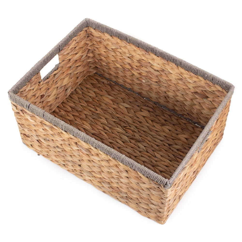Water Hyacinth With Grey Rope Border Rectangular Storage Basket