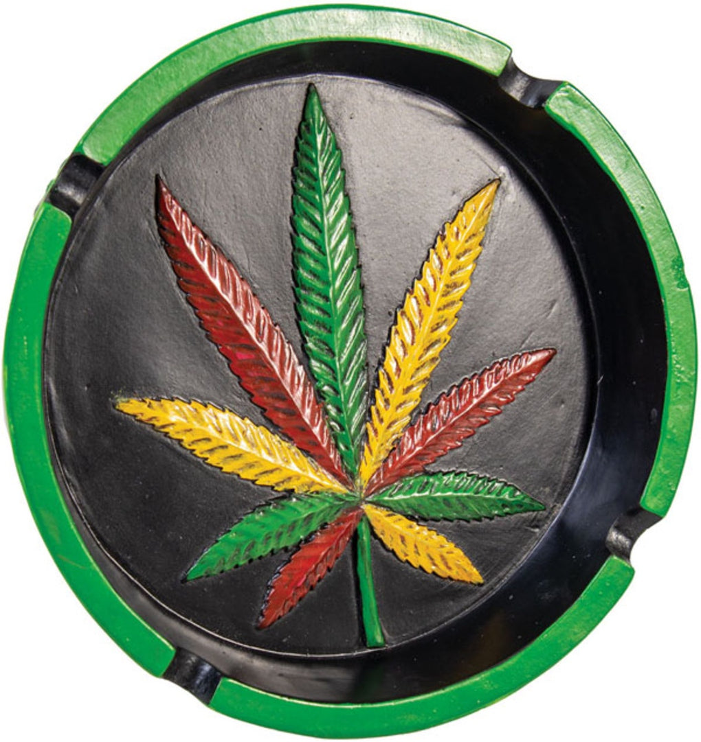 Polyresin Rasta Hemp Leaf Round Ashtray - 6