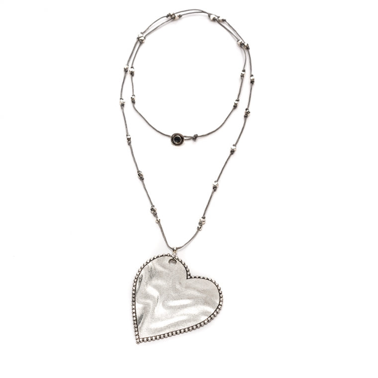 Heart Necklace on Black Cord