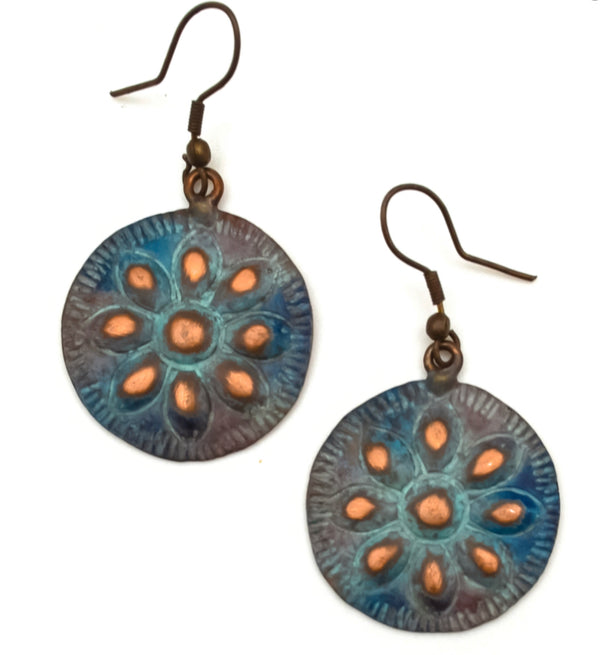 Flowering patina copper Earring