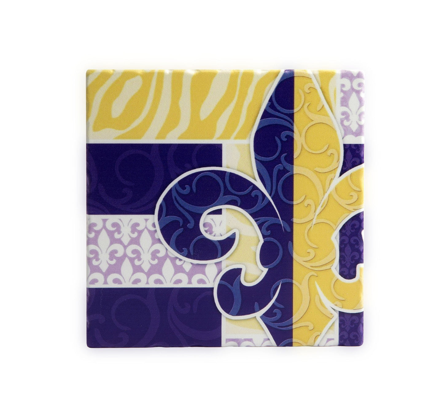 TV09 TRIVET PURPLE AND GOLD FLEUR DE LIS