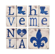 CT44 Set of 4 Coasters Blue Letter