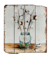 UH840 Mason Jar/Cotton Wooden Wall Art