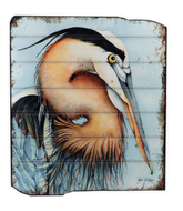 UH719 Egret WOODEN WALL ART