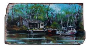 UH826 Bayou Shrimper Wooden Wall Art