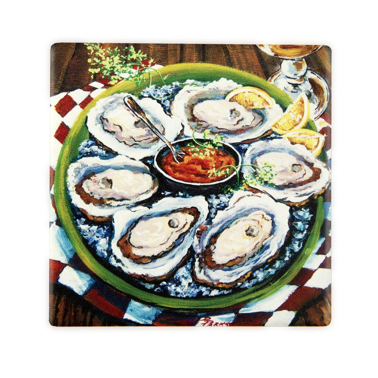 CT32A-1 Oysters on Half Shell Coaster