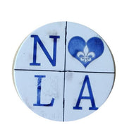 CC12 NOLA blue distressed Car Coaster