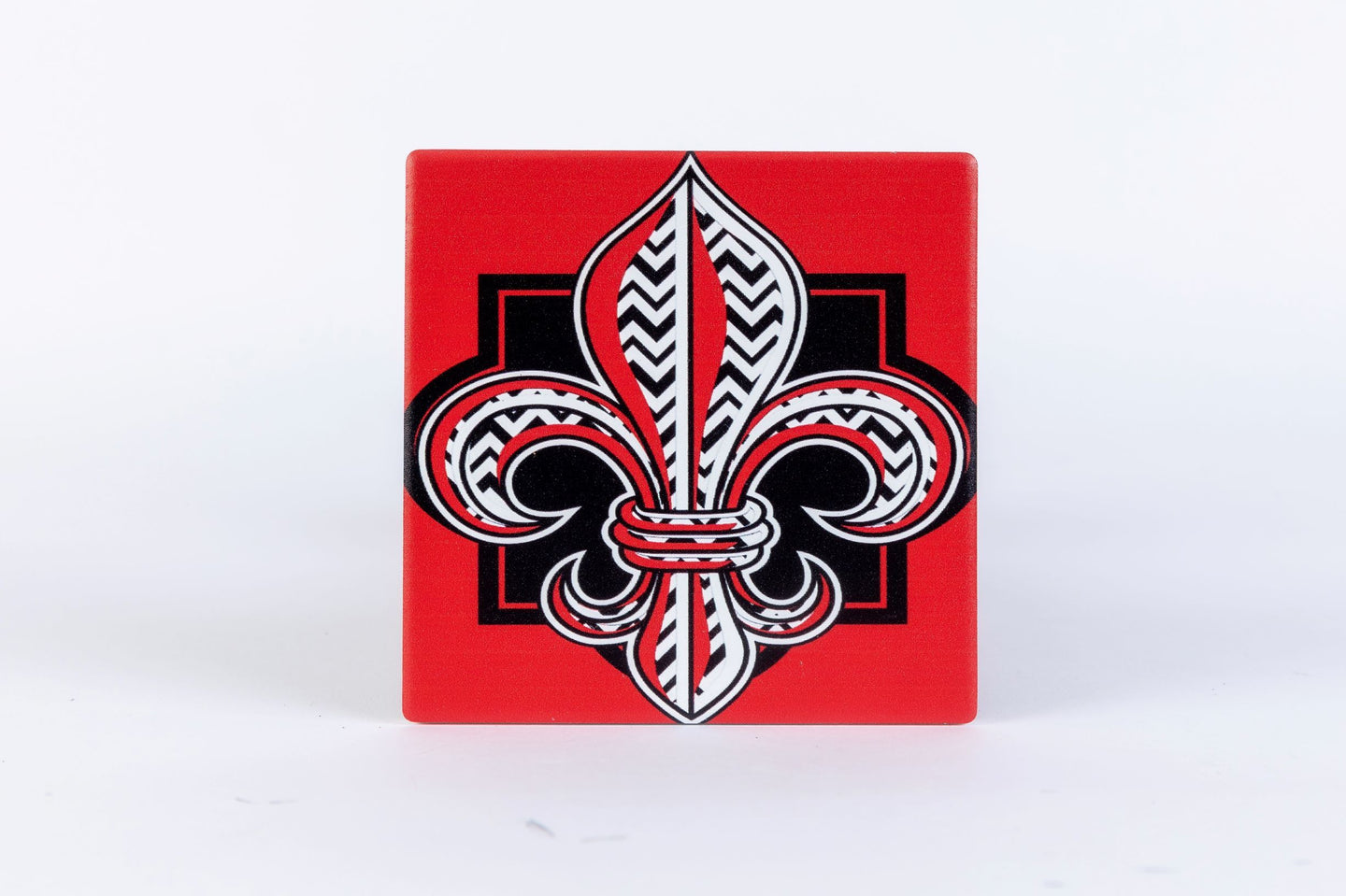 CT158 Red Fleur De Lis Single Coaster