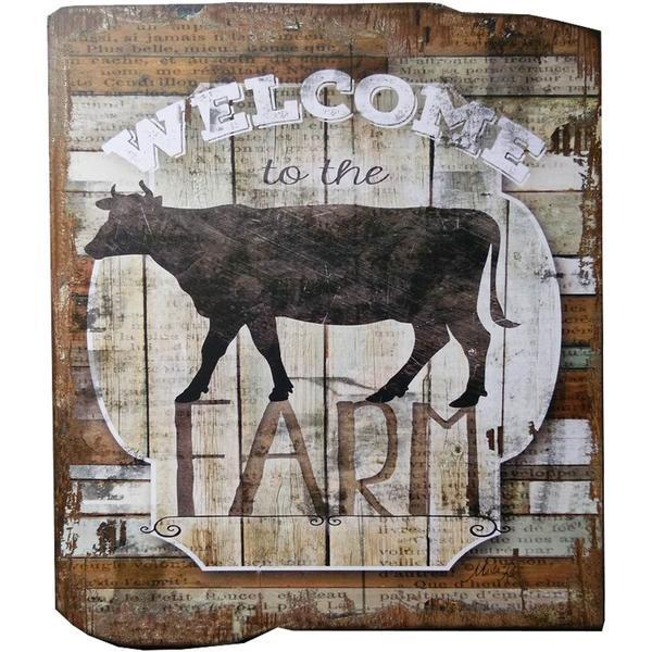 UH717 WELCOME COW WOODEN WALL ART