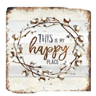 UH841 Happy Place/Cotton Wooden Wall Art