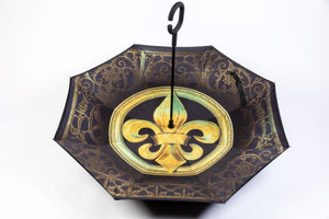 UMB6 Black & Gold Fleur De Lis  Inverted Umbrella