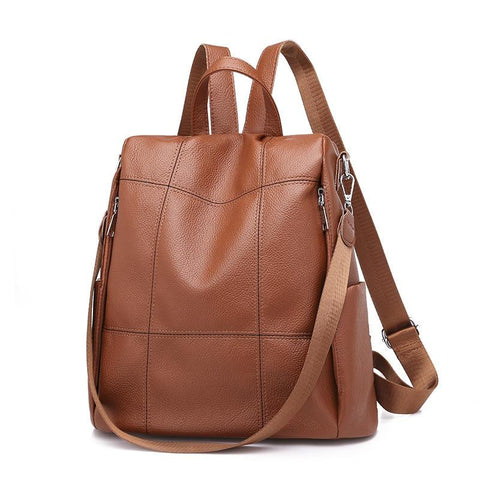 Backpack female version new wave wild single shoulder slung dual-use bag fashion soft leather