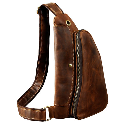 Bag men leather casual fashion travel waist pack chest sling design one shoulder crossbody