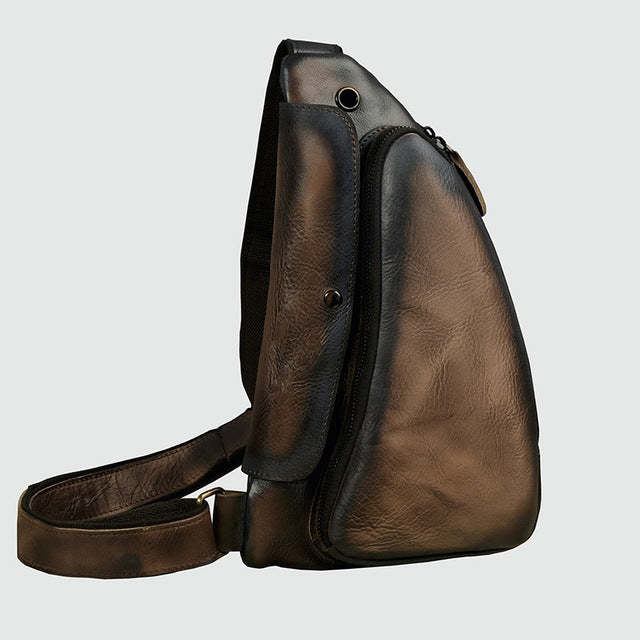 Small Men/'s Chest Pack 100/% Genuine Cowhide Bag Leather Casual Retro Bags Cowboy
