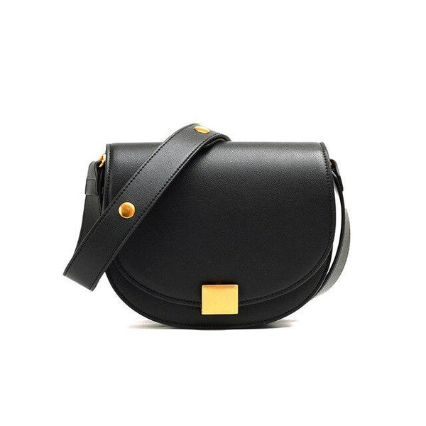 Handbag ladies leather half moon ring slanting saddle bag fashion organ type