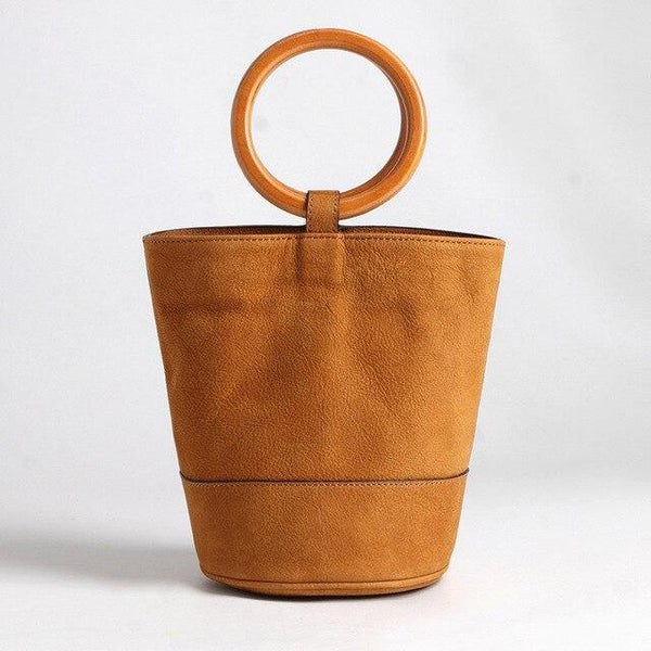 Bag women metal ring hand bucket vintage style genuine leather shoulder fashion show carry packet wood