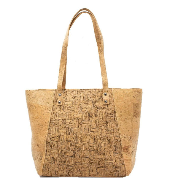 Bags for women cork handbag natural with squared pattern grain handmade original