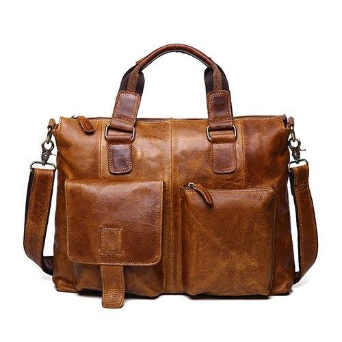 Handbags male real genuine leather designer vintage laptop briefcases office shoulder tote crossbody messenger